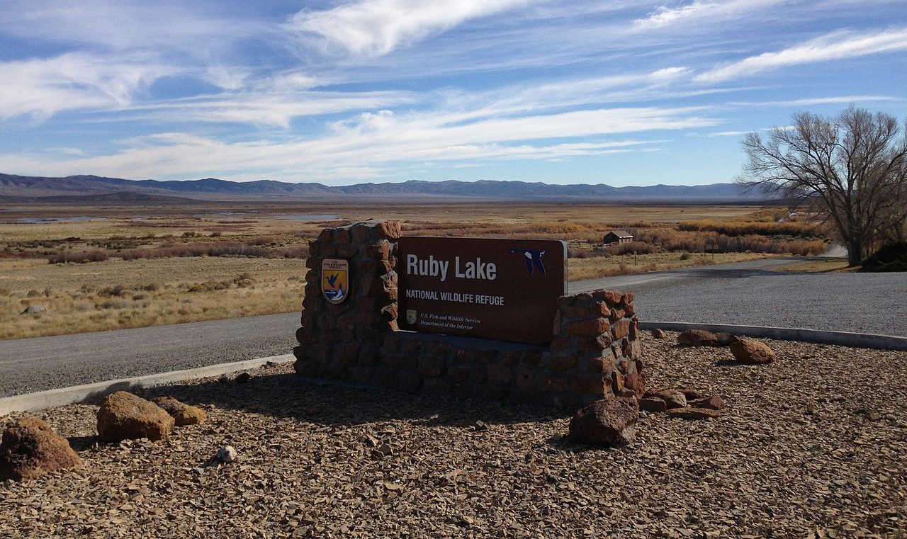 Entrance sign at Ruby Lake National Wildlife Refuge in Elko County, White Pine County, Nevada. Photo by F.A. Martin / Wikimedia.