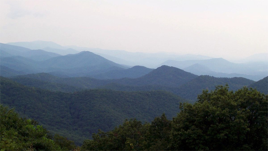 The Blue Ridge Mountains, viewed from Chimney Rock Mountain Overlook in Virginia. Photo by E.D. Brown / Wikimedia.