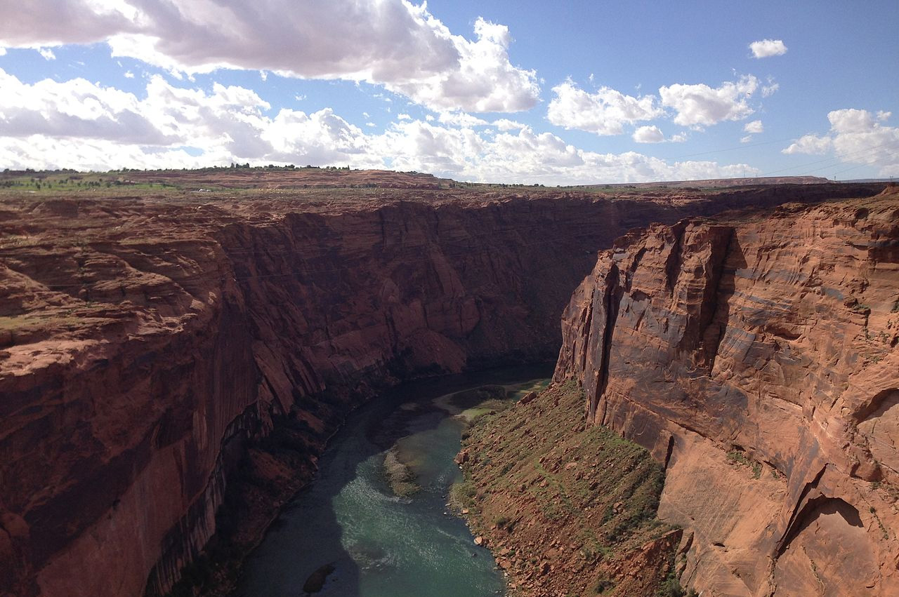 View down the Colorado River from the Glen Canyon Bridge. Photo by F.A. Martin / Wikimedia.
